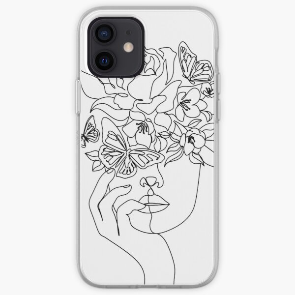 Flower in woman head. Vector line illustration. Line drawing. One line. Nature face. Nature cosmetics. Flower icon. Minimalist print. One Line Black White Drawing Artwork, Minimalist Couple Art, Minim iPhone Soft Case