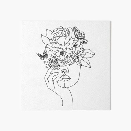 Flower in woman head. Vector line illustration. Line drawing. One line. Nature face. Nature cosmetics. Flower icon. Minimalist print. One Line Black White Drawing Artwork, Minimalist Couple Art, Minim Art Board Print