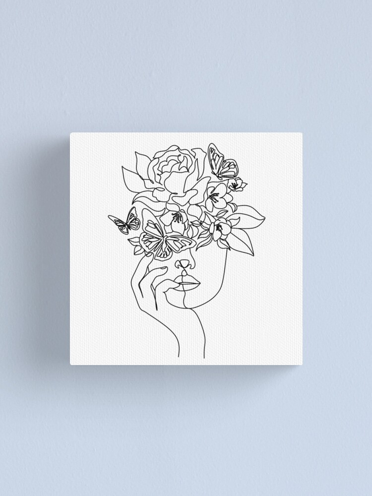 Alternate view of Flower in woman head. Vector line illustration. Line drawing. One line. Nature face. Nature cosmetics. Flower icon. Minimalist print. One Line Black White Drawing Artwork, Minimalist Couple Art, Minim Canvas Print