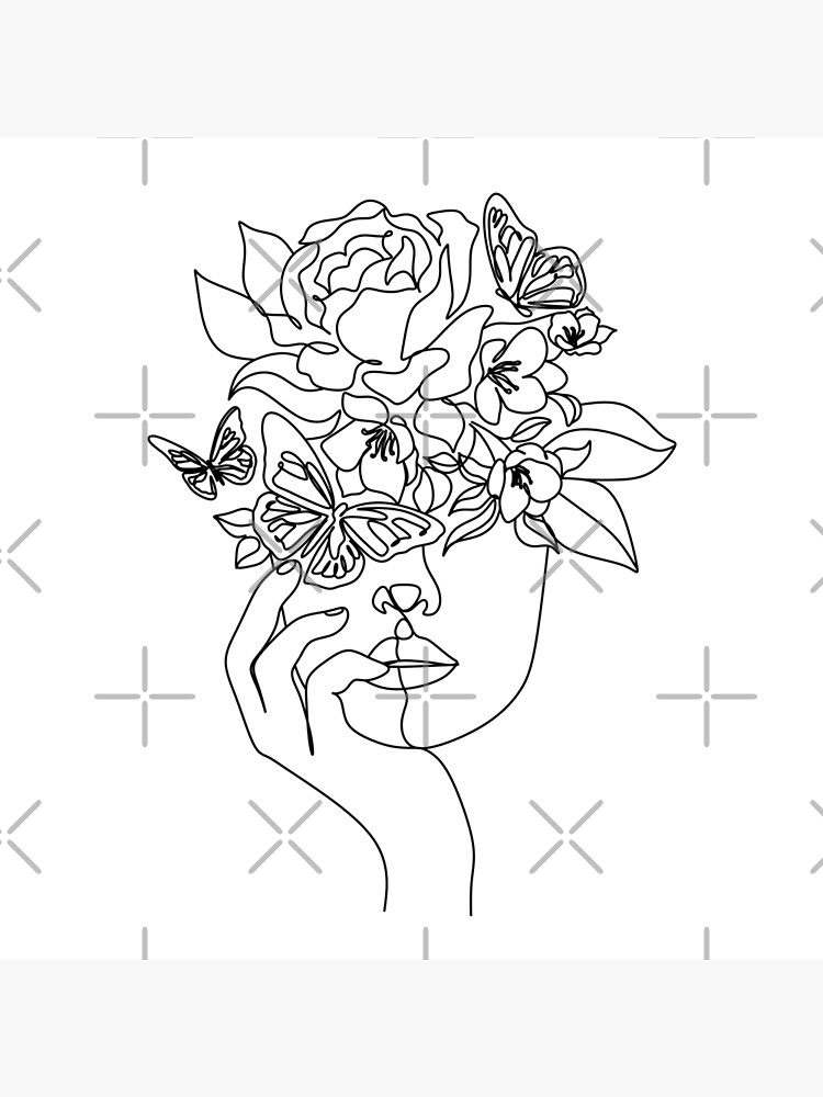 Flower in woman head. Vector line illustration. Line drawing. One line. Nature face. Nature cosmetics. Flower icon. Minimalist print. One Line Black White Drawing Artwork, Minimalist Couple Art, Minim by OneLinePrint