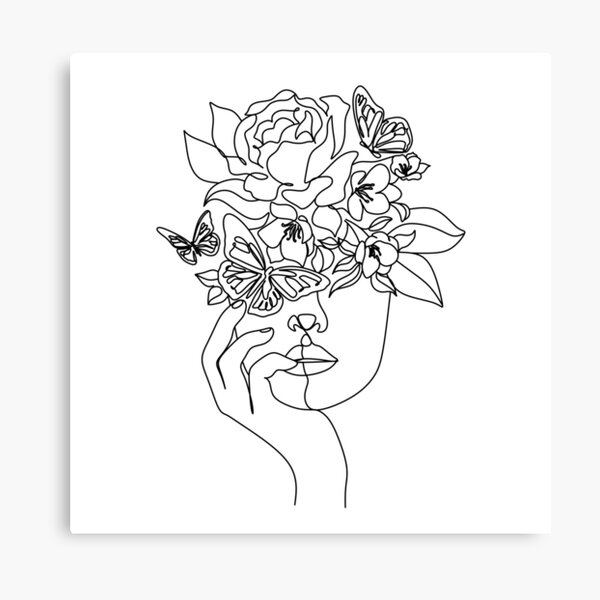 Flower in woman head. Vector line illustration. Line drawing. One line. Nature face. Nature cosmetics. Flower icon. Minimalist print. One Line Black White Drawing Artwork, Minimalist Couple Art, Minim Canvas Print