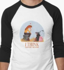 I think therefore I am vegan Men's Baseball ¾ T-Shirt