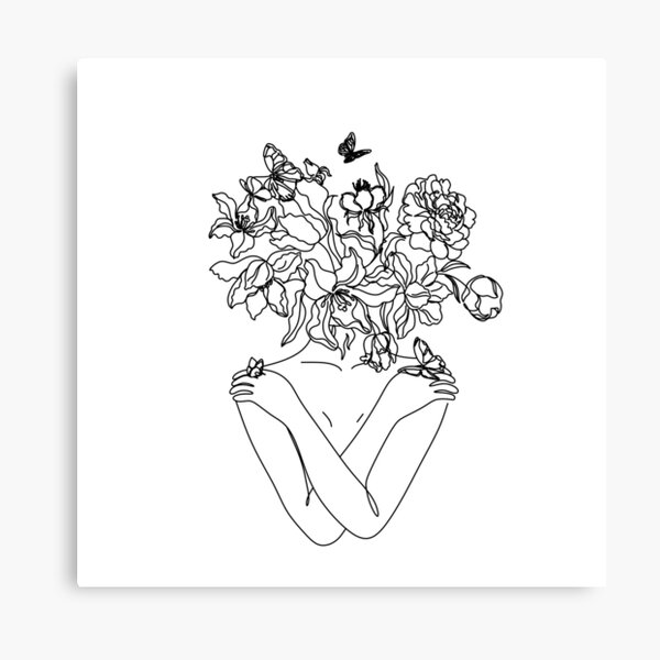 Flower Head Art Print | Minimal Line Art | Floral Illustration | Single Line Sketch | Female Body Poster | Naked Woman Wall Art | Peony Art Canvas Print