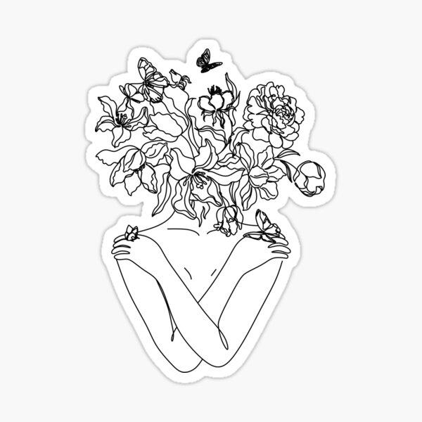 Flower Head Art Print   Minimal Line Art   Floral Illustration   Single Line Sketch   Female Body Poster   Naked Woman Wall Art   Peony Art Sticker