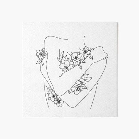 Self love. woman hugs herself, flowers grow out Line Art Print. Woman With Flowers. Nude Line Art. Art Board Print
