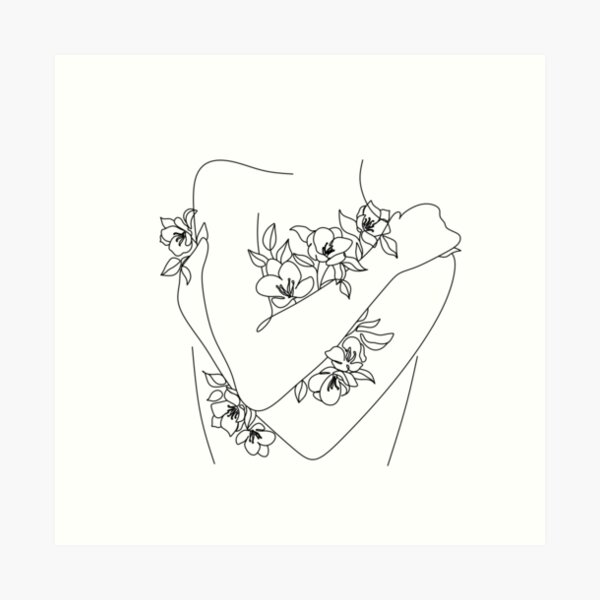 Self love. woman hugs herself, flowers grow out Line Art Print. Woman With Flowers. Nude Line Art. Art Print