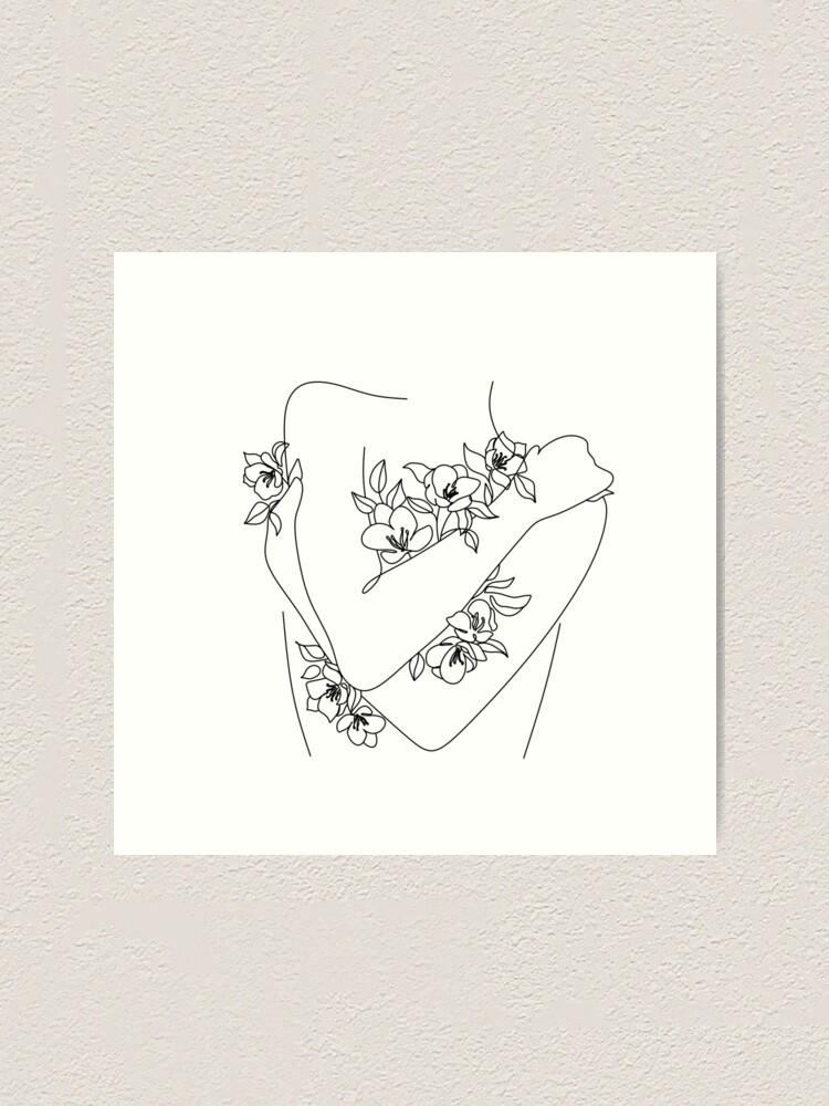 Alternate view of Self love. woman hugs herself, flowers grow out Line Art Print. Woman With Flowers. Nude Line Art. Art Print