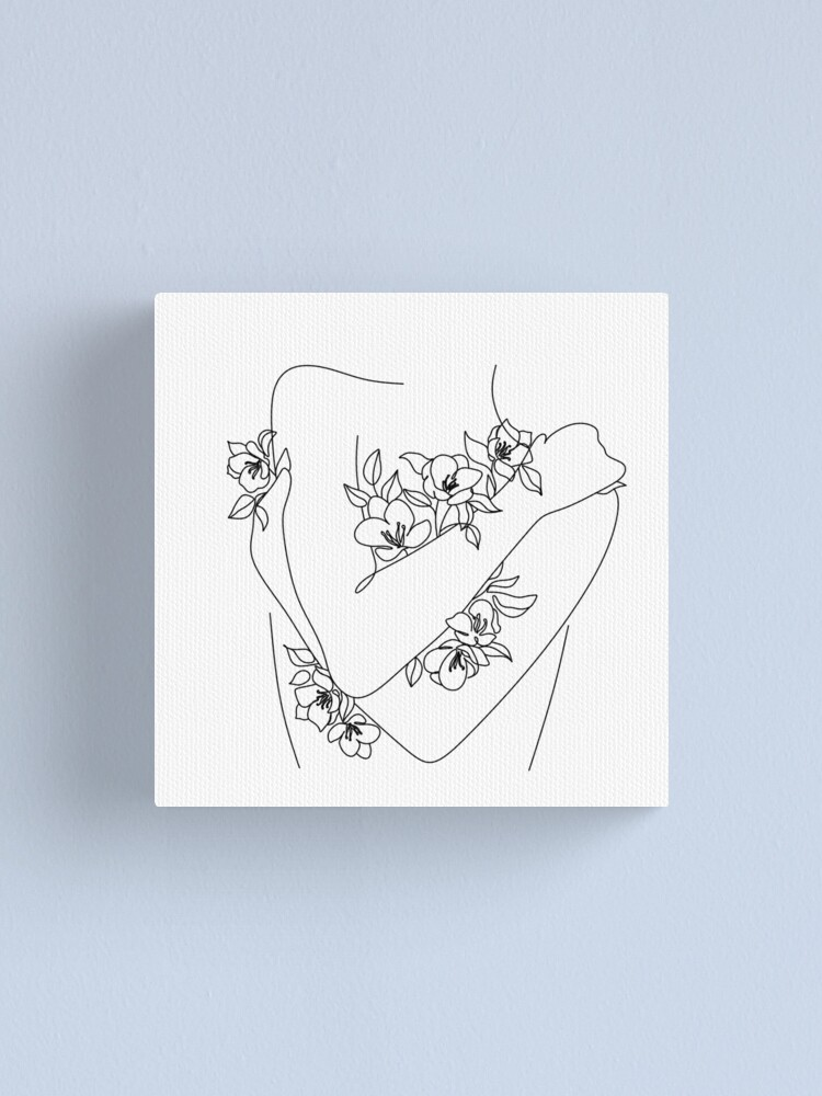 Alternate view of Self love. woman hugs herself, flowers grow out Line Art Print. Woman With Flowers. Nude Line Art. Canvas Print