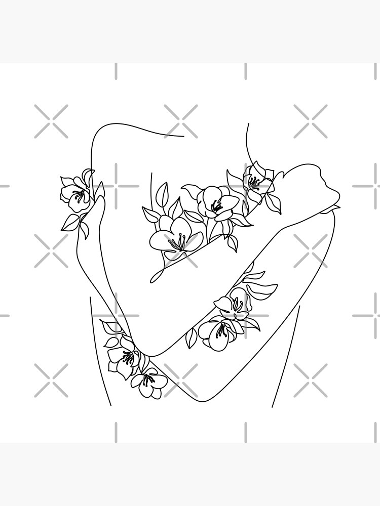 Self love. woman hugs herself, flowers grow out Line Art Print. Woman With Flowers. Nude Line Art. by OneLinePrint