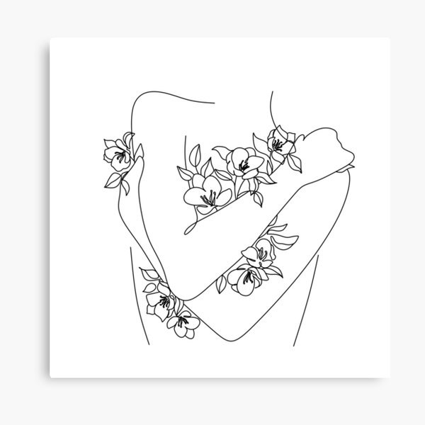Self love. woman hugs herself, flowers grow out Line Art Print. Woman With Flowers. Nude Line Art. Canvas Print