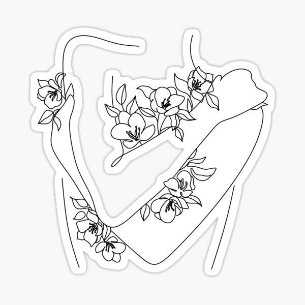 Blumen wachsen aus Line Art Print. Frau mit Blumen. Nude Line Art. Frau Line Art. Minimalistischer Blütenkopf. Frauendruck Sticker