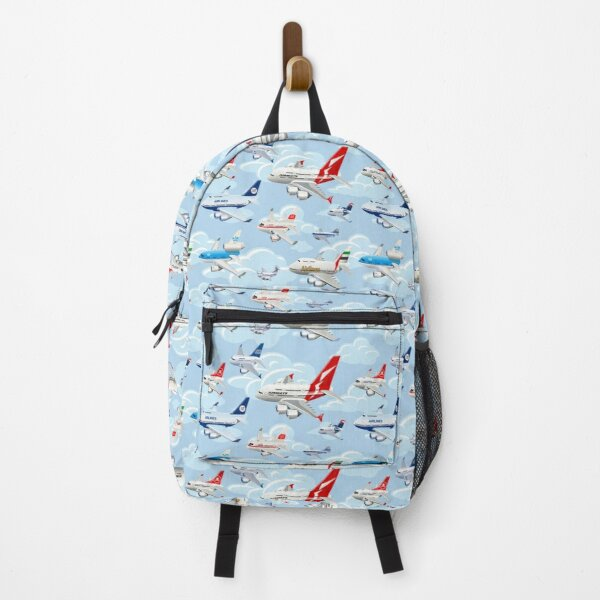 Cartoon commercial airplanes seamless pattern Backpack