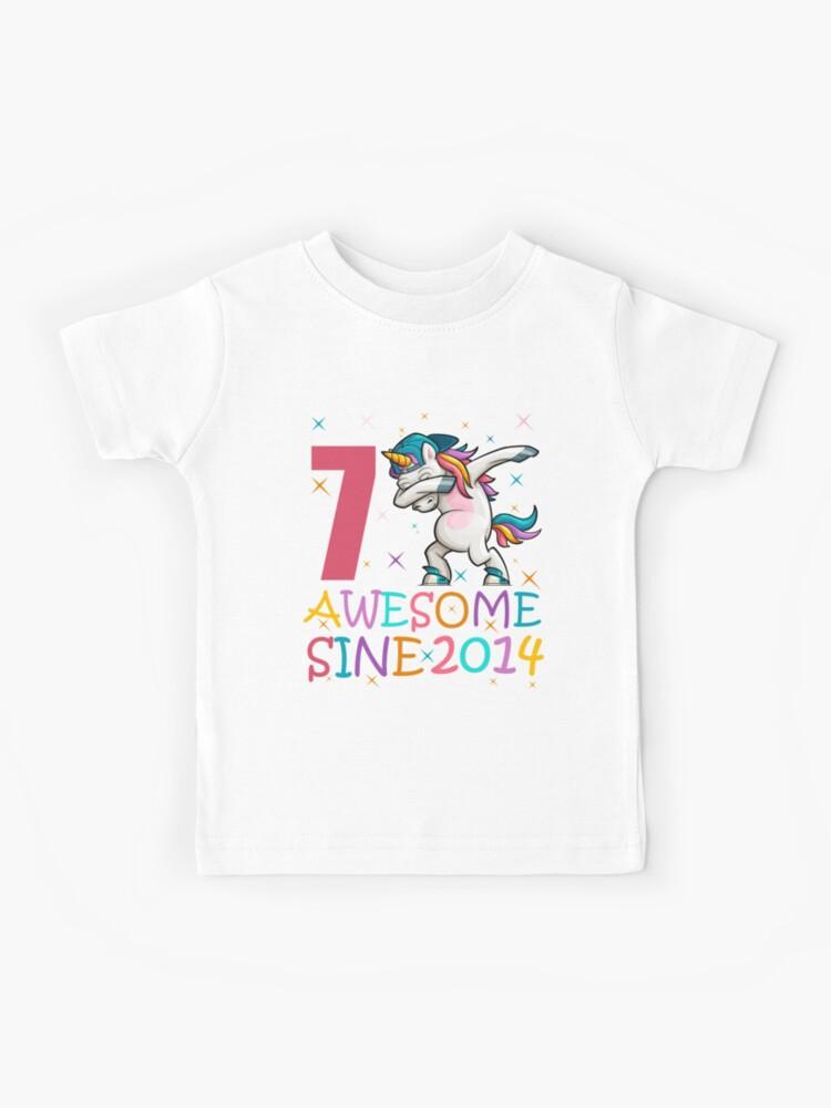 7 Years Old 7th Birthday Unicorn Dabbing Girl Party 2021 T-Shirt