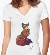 Space Fox Women's Fitted V-Neck T-Shirt