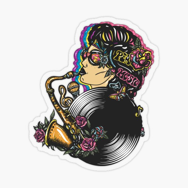 Music girl Transparent Sticker