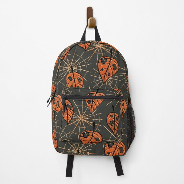 Orange Leaves With Holes And Spiderwebs Backpack