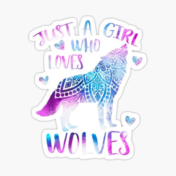 Solo una chica que ama a los lobos Acuarela Lobo Adorno de regalo Pegatina