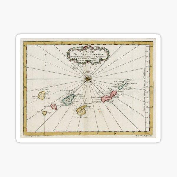 Mapa de Canarias Vintage (1757) Pegatina