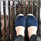 Blue loafers on the doormate by fourthangel