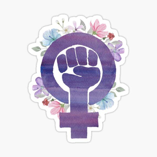 Floral Radical Feminist Power Fist Venus Purple Watercolor  Sticker