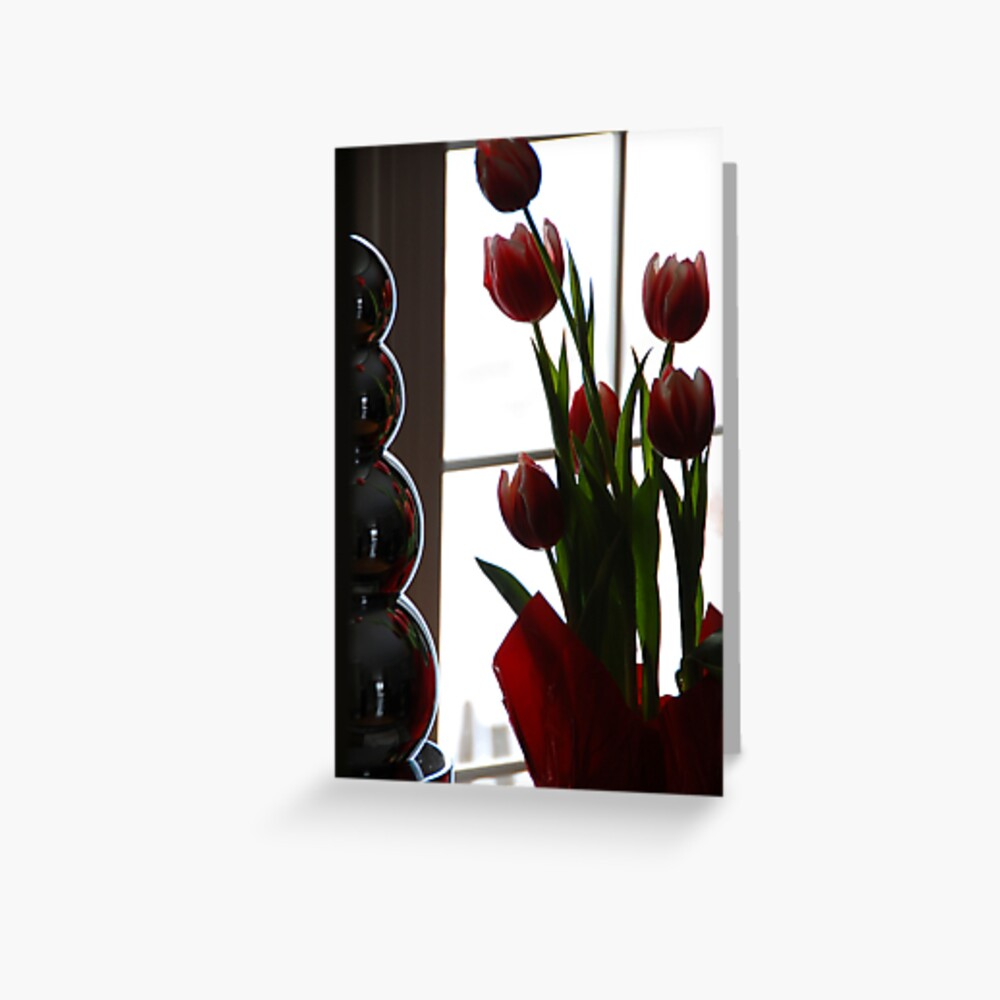 Chrome and Tulips Greeting Card