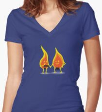 Naked Flames Women's Fitted V-Neck T-Shirt