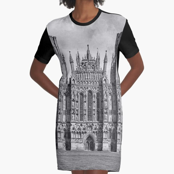 Wells Cathedral in Black and white  Graphic T-Shirt Dress