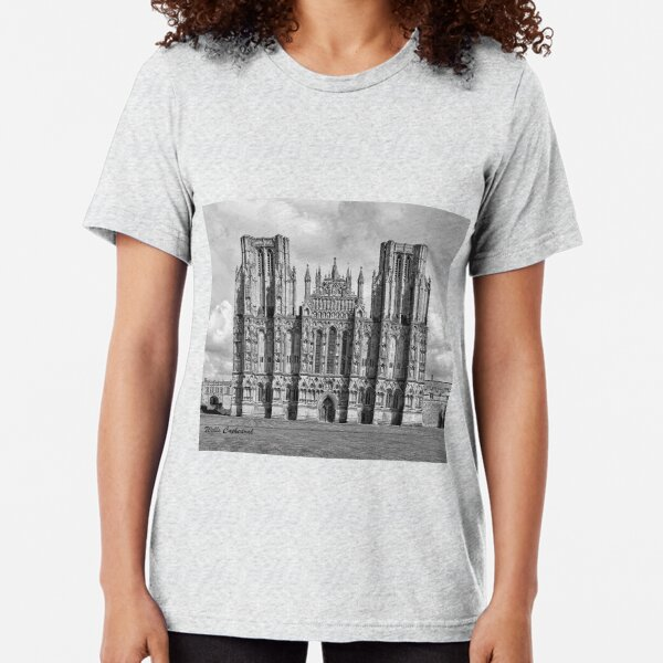Wells Cathedral in Black and white  Tri-blend T-Shirt