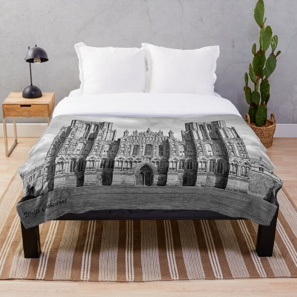 Wells Cathedral in Black and white  Throw Blanket