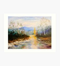 ovens river winter color Art Print