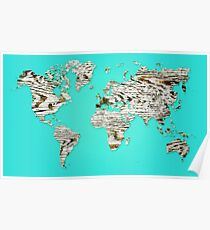 Turquoise Map of The World - World Map for your walls Poster