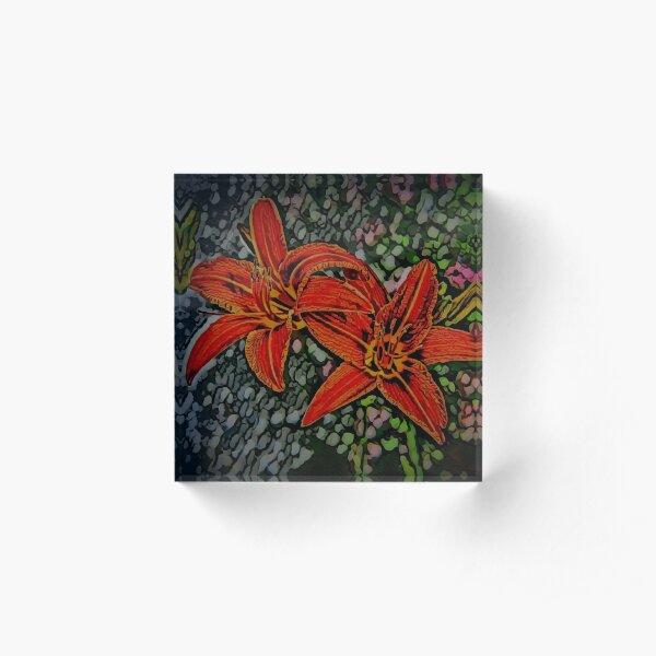 Nightblooming Daylily Flowers Acrylic Block