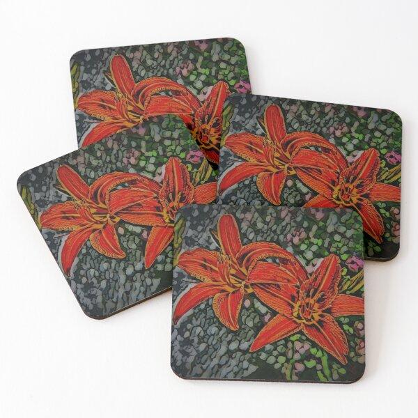 Nightblooming Daylily Flowers Coasters (Set of 4)