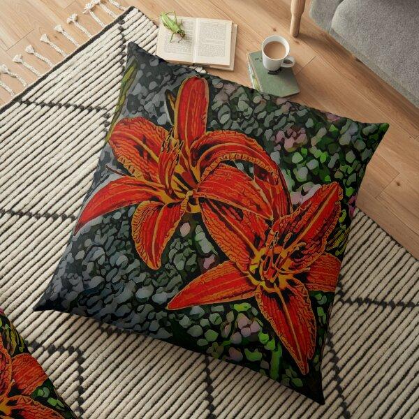 Nightblooming Daylily Flowers Floor Pillow