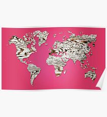 Pink Map of The World - World Map for your walls Poster