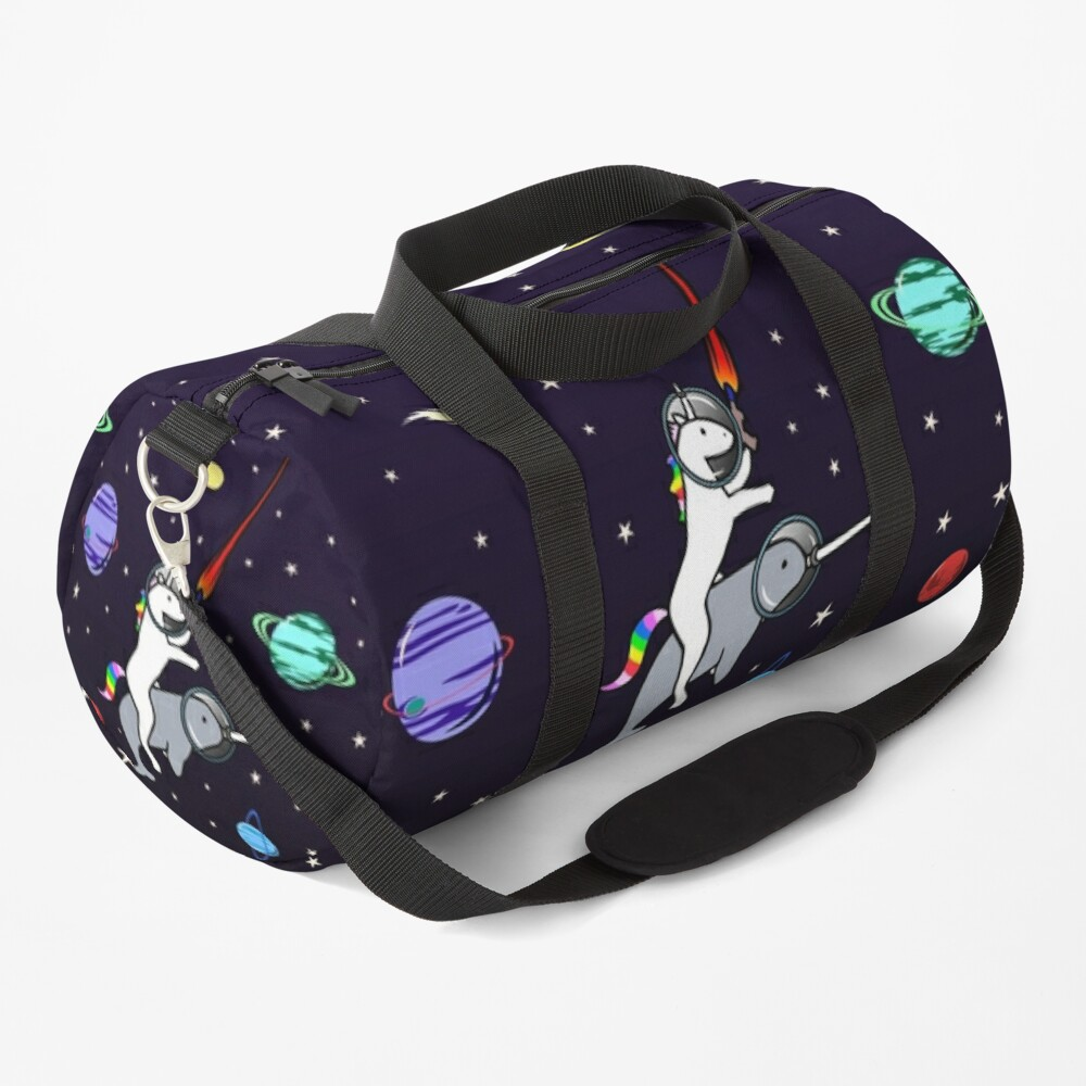 Unicorn Riding Narwhal In Space Duffle Bag
