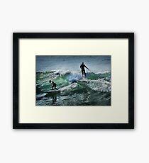 Surfing at Winkipop Framed Print