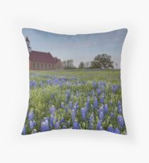Texas Bluebonnets in front of a Church Throw Pillow