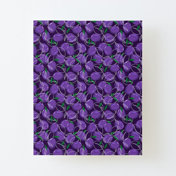Pattern with plums. Fruit illustration Canvas Mounted Print