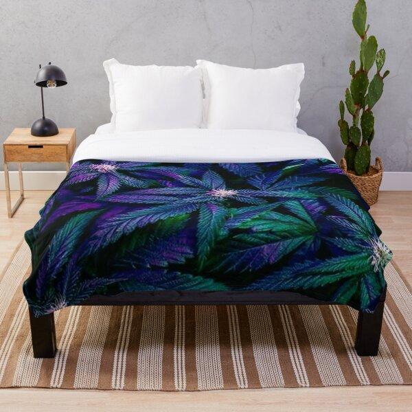 Psychedelic Marijuana Cannabis Ganja Print Throw Blanket