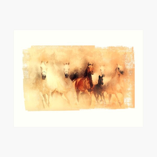 Galloping horses. Colorful painting. Art Print