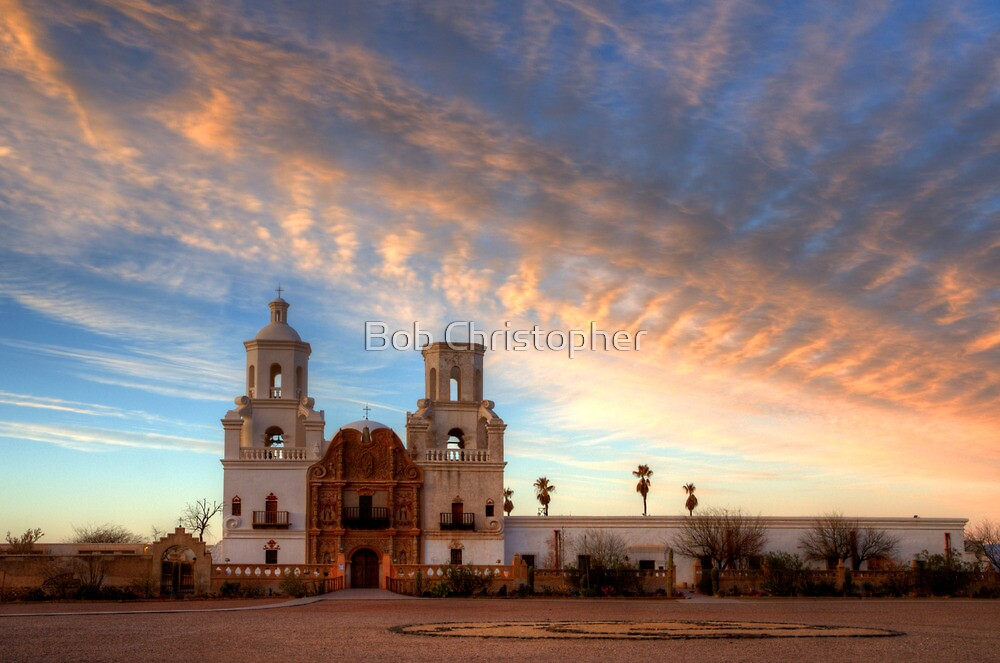 Majestic Sunset Mission San Xavier Del Bac by Bob Christopher