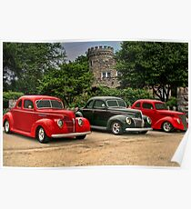 """1937-38-39 Ford Coupes """"Three of a Kind"""" Poster"""