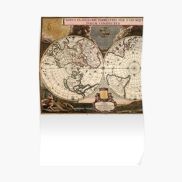 Novus Planiglobii terrestris per utrumque polum conspectus Poster