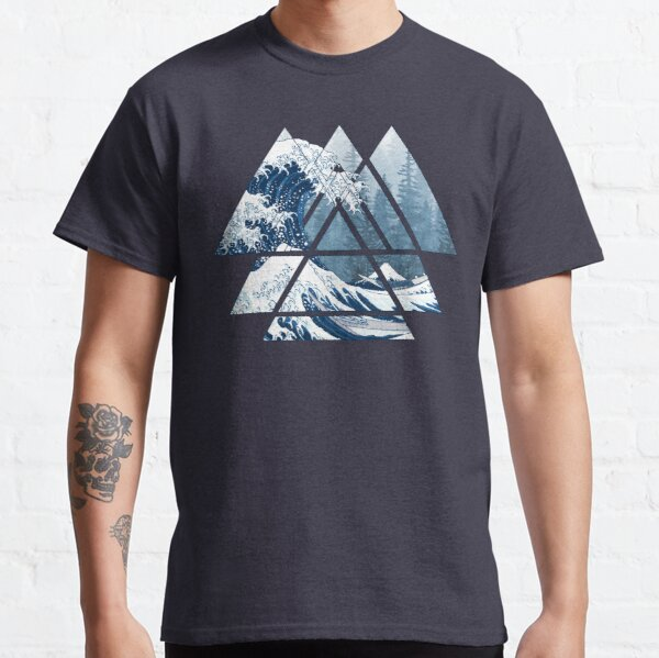 The Great Sacred Geometry Triangles - Misty Forest Wave Classic T-Shirt