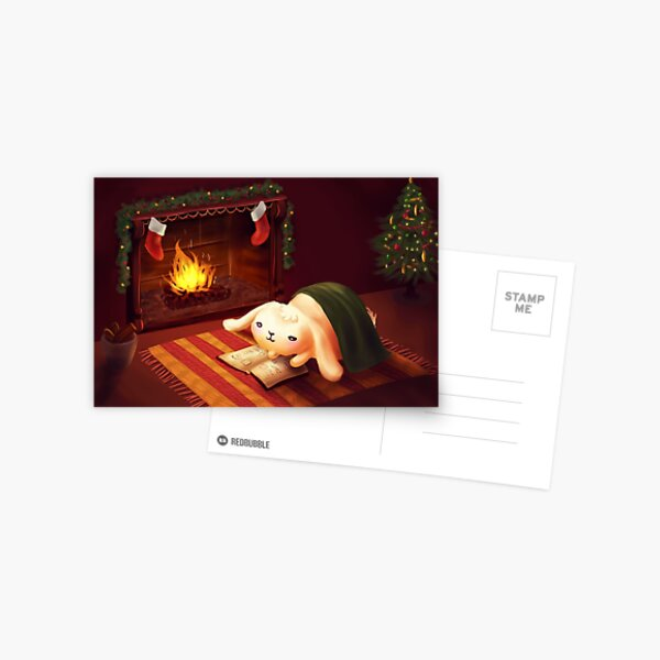 Chubby bunny by the fireplace Postcard