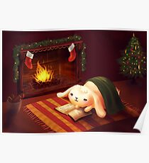 Chubby bunny by the fireplace Poster