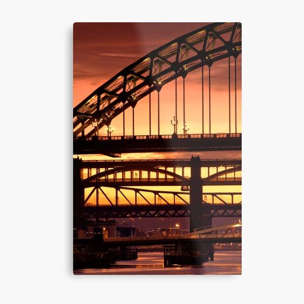 Sunset Through The Bridges at Newcastle Metal Print