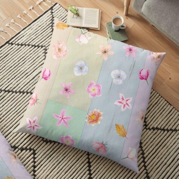 Pastel Flowers Floor Pillow