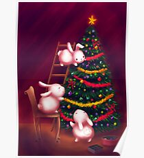 Chubby bunnies decorate the tree Poster